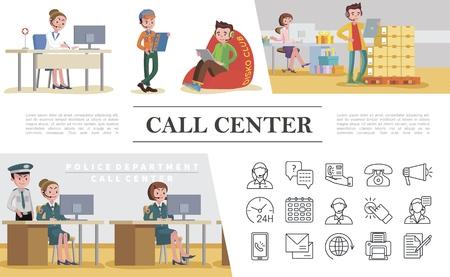 Concetto colorato di call center piatto con servizi di assistenza del dipartimento di polizia di emergenza pizza consegna cibo negozio di articoli da regalo e icone di supporto illustrazione vettoriale