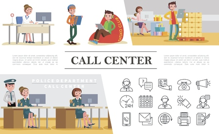 Flat call center colorful concept with helpline services of police department emergency pizza food delivery gift shop and support icons vector illustration