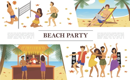 Flat beach party concept with man sunbathing and working on laptop and people dancing playing volleyball drinking cocktails in bar vector illustration Stock Illustratie