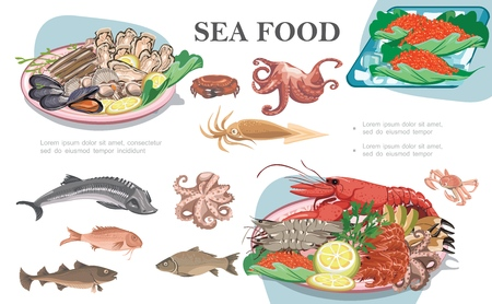 Flat seafood composition with octopus squid fish shrimps lobster mussels scallops oysters caviar and plates of sea food vector illustration
