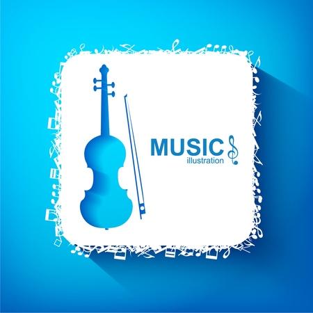 Concept de design musical avec carré blanc de violoncelle bleu et éléments musicaux sur fond clair illustration vectorielle isolée