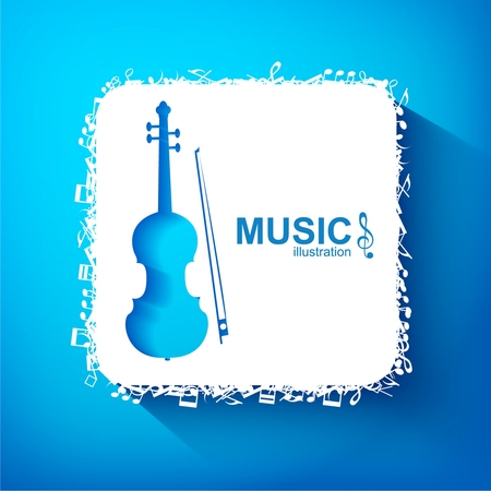 Music design concept with blue cello white square and musical elements on light background isolated vector illustration