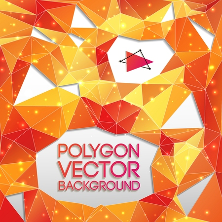 Abstract orange and yellow background with white bright dots and cut triangles vector illustration