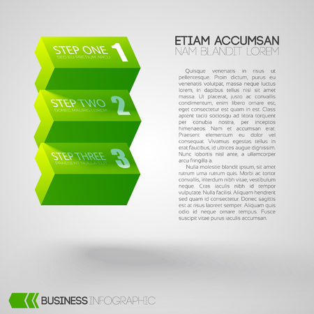 Web business step infographics with text and three green horizontal blocks on light background isolated vector illustration Illustration