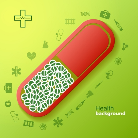 Medical abstract background with different symbols and icons vector Illustration Illustration