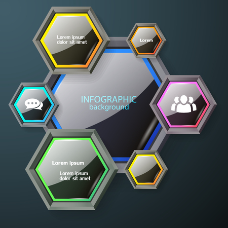 Business infographic chart concept with dark glossy hexagons with colorful edging white text and icons vector illustration