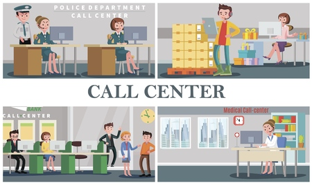 Flat people support service composition with operators of police department medical bank pizza food delivery and gift shop call centers