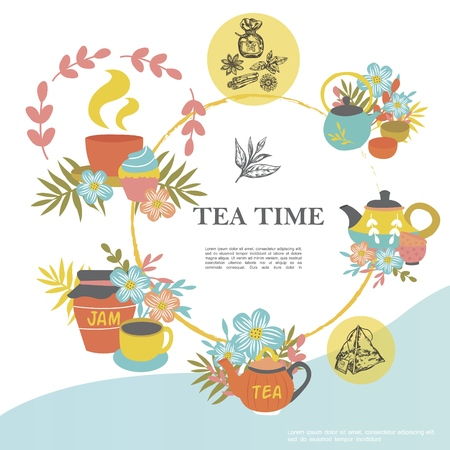 Sketch tea time round concept with cups teapots flowers jar of jam tea bag cupcake different herbs