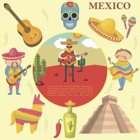 Flat Mexico round concept with men playing guitar and maracas sugar skull pinata sombrero chili pepper tequila bottle Aztec pyramid