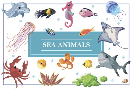 Cartoon sea life concept with dolphin seahorse shark stingray fishes crab jellyfish seaweed corals