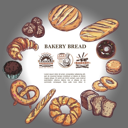 Sketch bakery products round concept with bread french baguette croissant pretzel muffin donut bagels and bake house badges