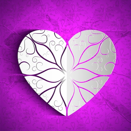 Valentines day amorous background with white paper ornate heart on purple hand drawn elements pattern vector illustration