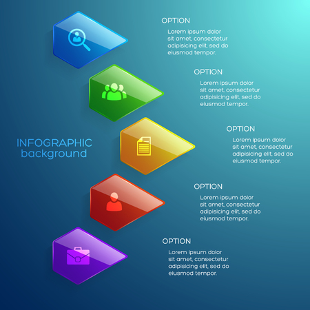 Light business infographic concept with colorful glossy pentagons five options and icons on turquoise background vector illustration 向量圖像