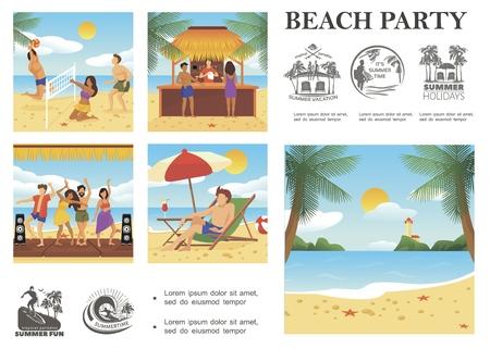 Flache Sommerferienzusammensetzung mit Menschen, die auf tropischen Strandsommerferien ruhen, Embleme Palmen Meer Leuchtturm