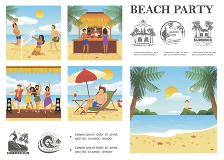 Flat summer vacation composition with people resting on tropical beach summer holidays emblems palm trees sea lighthouse