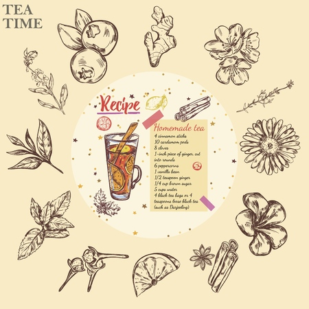 Sketch tea recipe round template with tea glass blueberry monochrome cinnamon sticks bergamot lemon camomile jasmine marjoram ginger mint sage hibiscus clove vector illustration