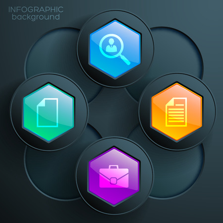 vector - web infographic chart concept with business icons colorful glossy  hexagonal buttons and dark circles