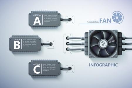 Infografik-Designkonzept mit realistischen Kühlelementen für Computerlüfter Text drei Optionen auf Grau