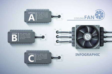 Infographic design concept with realistic computer fan cooling elements text three options on gray