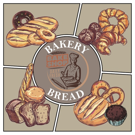Sketch bakery products concept with bread french baguette croissant bagel donut muffin pretzel and bake shop emblem vector illustration  イラスト・ベクター素材