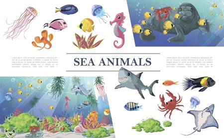 Cartoon sea animals composition with shark colorful fishes jellyfishes dolphin seal stingray seahorse crab seaweeds corals