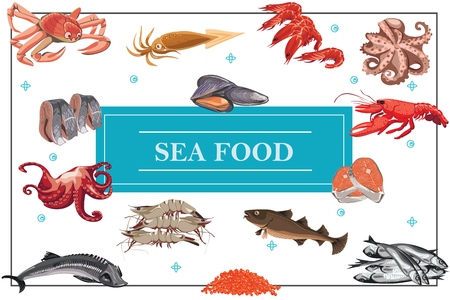 Flat seafood colorful concept with crab octopus king prawns shrimps carp sturgeon fish caviar herrings salmon meat squid mussels
