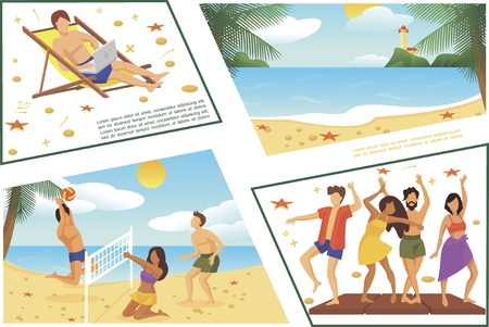 Flat summer beach vacation composition with dancing people sea landscape freelancer sunbathing and working on laptop men and woman playing volleyball vector illustration Illusztráció