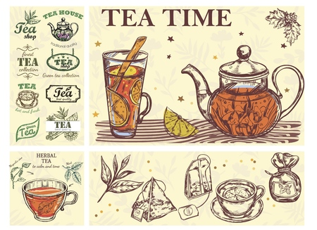 Sketch Tea Time Colorful Concept with glass cup teapot of beverage herbs bags and tea labels Banque d'images - 121886748