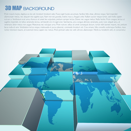 Abstract isometric background with place for text and world map depicted on cube geometric structure vector illustration Illustration