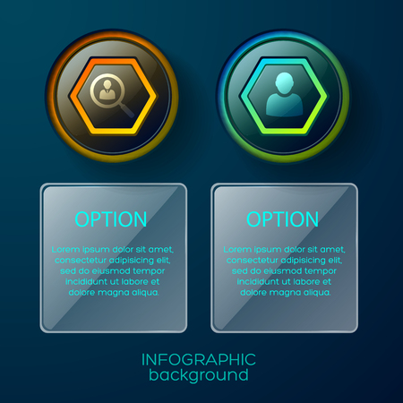 Conceptual composition of two isolated infographic columns each with pictogram and square text place available for editing
