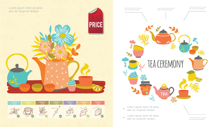 Hand drawn tea time concept with cups mugs teapots cake flowers bowls herbal tea emblems vector illustration