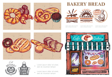 Sketch baking food composition with bread croissant bagel french baguette buns muffin pretzel bakery shop and emblems vector illustration 写真素材 - 128174557