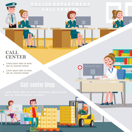 Flat call centers template with workers of helpline services of police department hospital and shop vector illustration