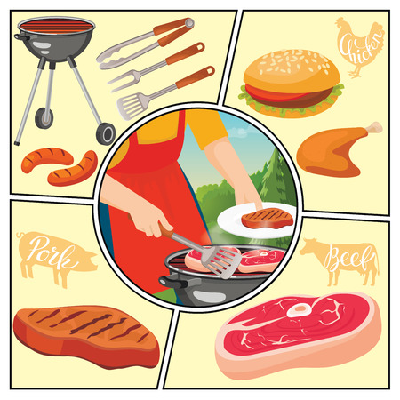 Flat summer picnic weekend composition with fork tongs spatula burger roasted chicken sausages and man cooking steak on barbecue vector illustration Foto de archivo - 128174560