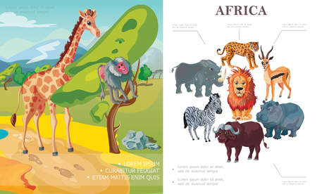 Cartoon african animals concept with giraffe monkey sitting on tree rhino hippo leopard buffalo zebra lion antelope vector illustration Çizim