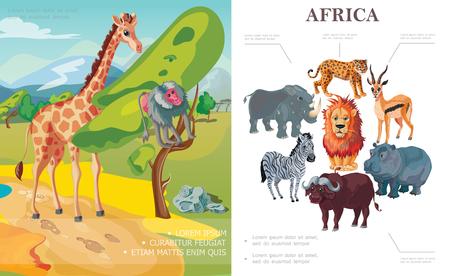 Cartoon african animals concept with giraffe monkey sitting on tree rhino hippo leopard buffalo zebra lion antelope vector illustration Illustration