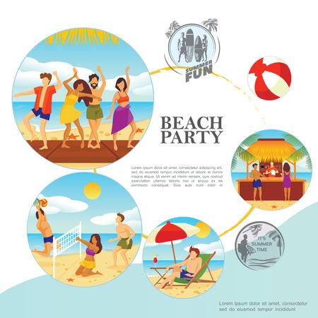 Flat summer vacation template Stock Vector - 123254872