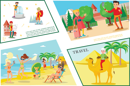 Flat travel colorful Illustration
