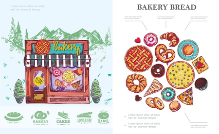 Hand drawn baking concept with bread pie bagel donut muffin pretzel buns croissant coffee cup bakery labels and shop on mountain landscape vector illustration  イラスト・ベクター素材