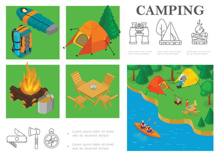 Isometric camping colorful Иллюстрация