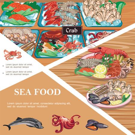 Flat seafood template Illustration