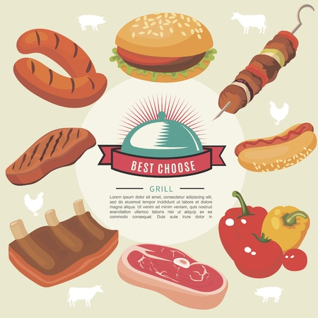 Flat grill food round concept with sausages burger barbecue pepper tomato meat steak pork ribs isolated vector illustration