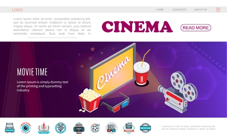Isometric movie time web page template Stock Illustratie
