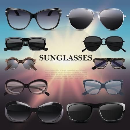 Realistic stylish sunglasses template with fashionable eyeglasses of different shapes on sunshine Illustration
