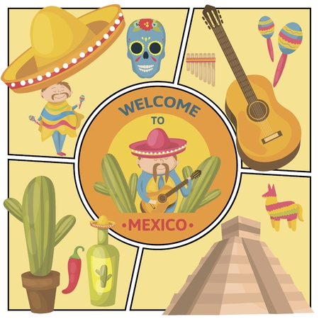 Travel To Mexico composition with mexicans guitar maracas sugar skull Maya pyramid pinata cactus sombrero chili pepper tequila bottle in flat style vector illustration  イラスト・ベクター素材