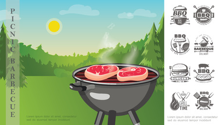 Flat picnic weekend party composition with steaks on barbecue grill near forest and bbq and grill menu monochrome emblems vector illustration Archivio Fotografico - 128174570