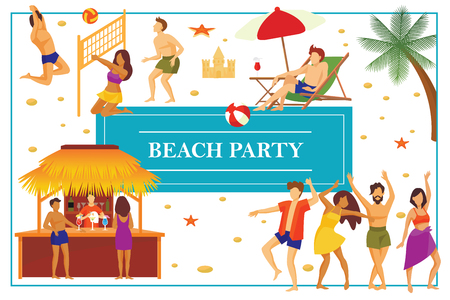 Flat summer beach party concept  イラスト・ベクター素材