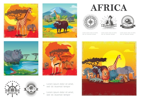 Cartoon wild africa colorful composition Иллюстрация