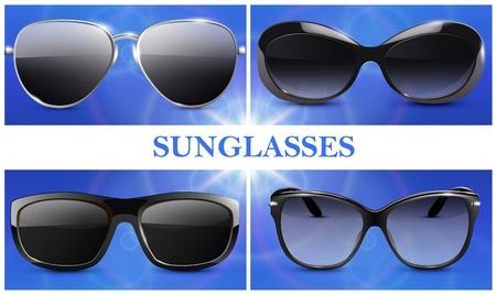 Realistic fashionable sunglasses composition Illustration
