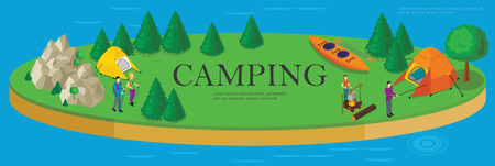 Isometric camping and hiking template with forest mountains tents kayak bonfire and tourists rest on island vector illustration